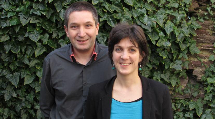 Amande Gat et Christophe Dumilieu, conseiller municipal à Sens-de-Bretagne, candidats EELV sur le canton d'Antrain (35 - Ille et Vilaine)